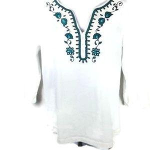 St John's Bay Size PM 3/4 Sleeve Shirt Cotton Top
